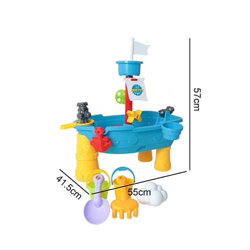 Outdoor Sand and Water Activities Play Table with Ship Design Splashing Summer Fun Toy Scoops Boats Spades for Children