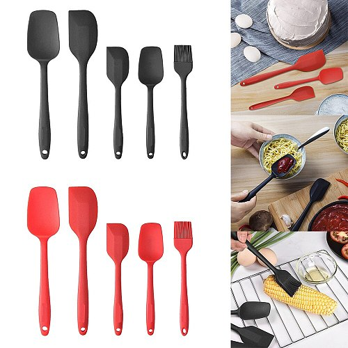 5PCS Non Stick Butter Cooking Silicone Spatula Set Cookie Pastry Mixing Scraper Spoon Oil Brush Cake Cream Kitchen Baking Tool