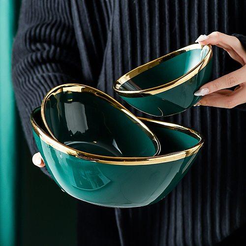 Green Glaze Phnom Penh Ceramic Bowl Rice Vegetable Dessert Soup Noodle Salad Bowl Serving porcelain Tableware Set Kitchen Tools