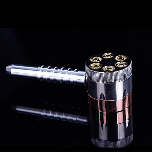 Revolver Pipe Weed Grinder Six Shooter Smoking Creative Tobacco Cigarette Herb Grinder Smoke Crusher L23