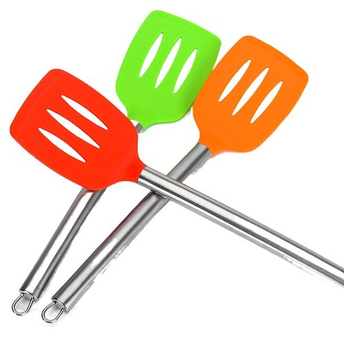 Food Grade Silicone Slotted Turner Nonstick Hollow Design Kitchen Utensils Spatula for Cooking