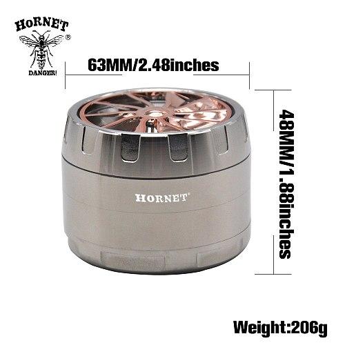 HORNET Wheel Zinc Alloy Smoking  Grinder 2.48 Inch 4 Piece Sharp Diamond Teeth Metal Tobacco Herb Grinder Spice  Crusher