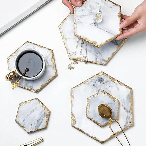 Luxury Non-slip Marble coaster mug Kitchen Potholder White Stone with Gold Inlay Heat Resistant Trivet