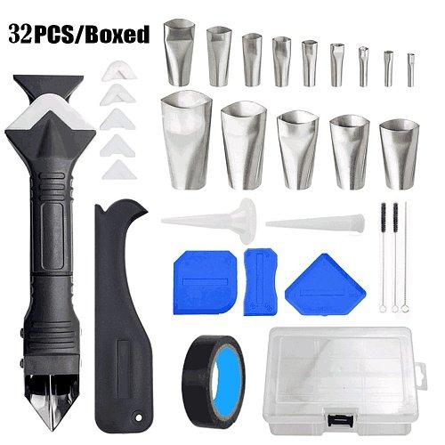 32pcs/set 3 In 1 Caulking Tool Kit Tools Silicone Sealant Finishing Tool Grout Scraper Caulk Remover Set Spatula Squeegee
