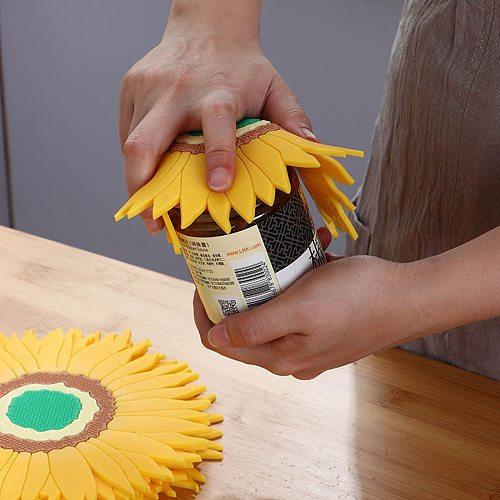 Silicone Trivets Pot Mat Sunflower Pan Pot Holders Heat Resistant Non Slip Hot Dish Trivet Kitchen Dining Table Countertop #BL1