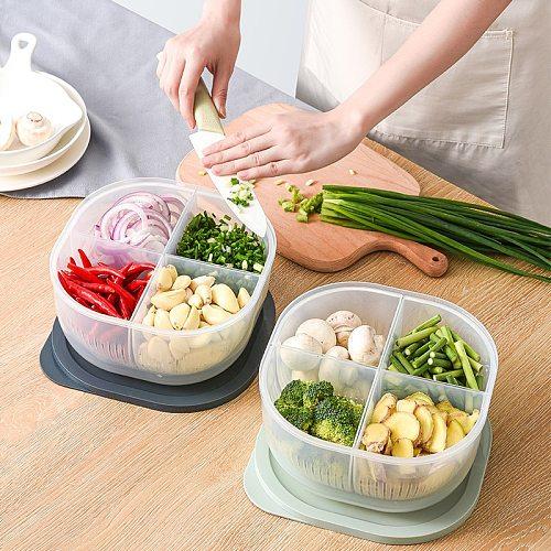 kitchen accessories storage box large kitchen transparent plastic vegetable sealed box refrigerator onion ginger garlic drain