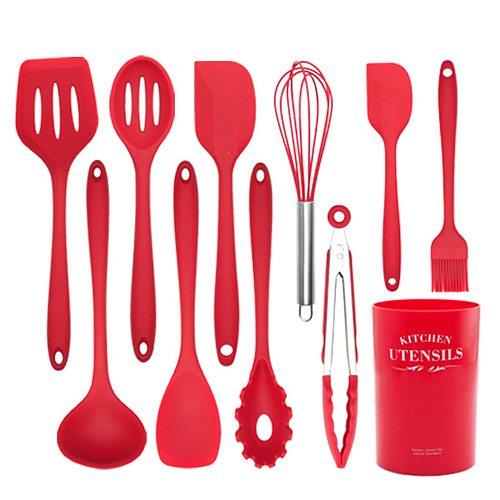 1PC Silicone Turner Soup Spoon Spatula Brush Scraper Pasta Server Egg Beater Kitchen Cooking Tools Kitchenware