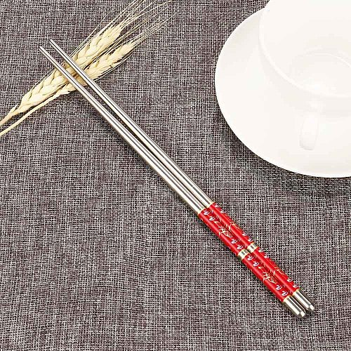 1 Pair Chinese Style Metal Chopsticks Non Slip Stainless Steel Chop Sticks Set Reusable Food Sticks Sushi Hashi Baguette Noodle