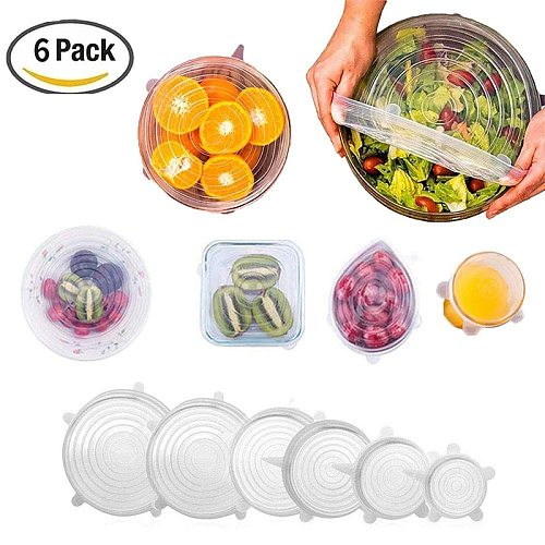 Silicone Stretch Lids 6 Pack of  Various Sizes Reusable Lids for Bowls, Pots, Cups. Durable and Expandable Seal Food Covers Set