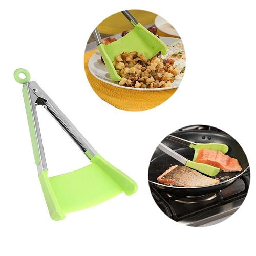 2 in 1 Non-stick Silicone Kitchen Spatula Tongs Clip Non-stick Heat Resistant Shovel Handle Pan Kitchen Utensil Stainless Steel