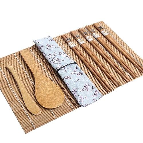 15pcs Bamboo Sushi Making Kit Includes 2 Sushi Rolling Mats 1 Towl 1 Rice Paddle 1 Rice Spreader 5 Pairs Chopsticks