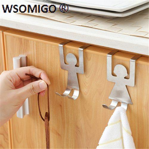 2pcs / Set Kitchen Accessories Stainless Steel Humanoid Door Back Hook Kitchen Gadgets Cabinet Door Storage Hook Accessories-C