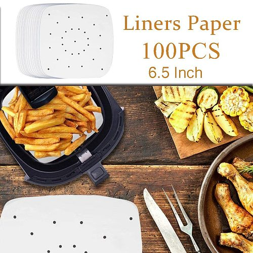 100PCS Oil Absorbing Paper Perforated Paper for Air Fryer, Streamer, Pans kitchen tool для кухни
