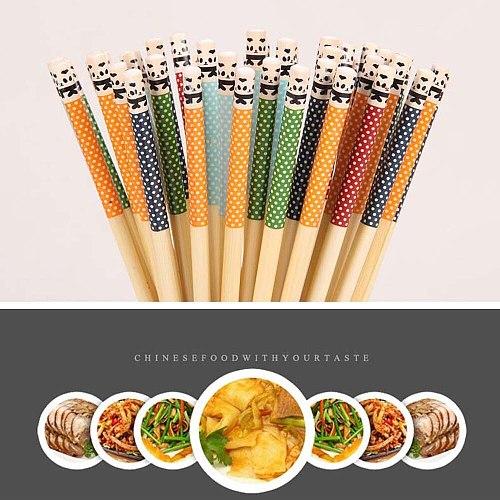 Natural Bamboo Chopsticks Panda Dot Pattern Tablewear For Kitchen Restaurant Reusable Chinese Wooden Chopsticks