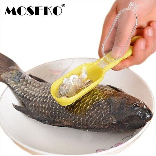 MOSEKO Fish Skin Brush Scraping Fishing Scale Brush Graters Fast Remove Fish knife Cleaning Peeler Scaler Scraper