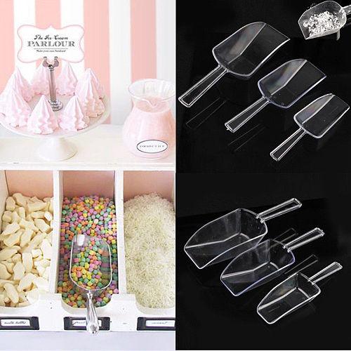 3 PCS Plastic Clear Ice Scraper Sugar Food Buffet Candy Bar Scoops Shovel Kitchen Gadgets Tableware Wedding Sweet Candy Favor