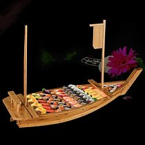 Japanese Cuisine Sushi Boats tray seafood Tool Wooden Wood Restaurant Handmade ship Sashimi Assorted Cold Dish