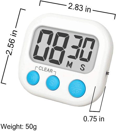 Kitchen Timer 6 Pack Small Digital Electronic Loud Alarm, Magnetic Backing, ON/OFF Switch, Minute Second Countdown, White,
