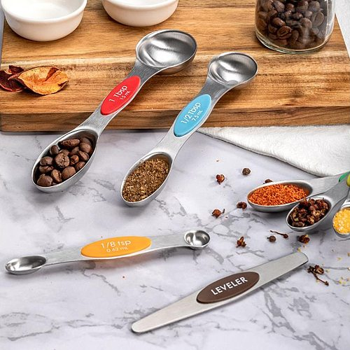 7PCS Magnetic Measurement Teaspoon Tablespoon for Dry and Liquid Ingredients Stainless Steel Double Head Measuring Spoon