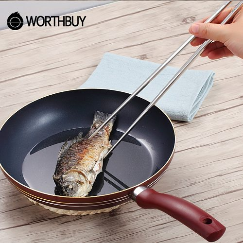 WORTHBUY Chinese Long Handle Chopsticks 304 Stainless Steel Chopsticks For Frying Kitchen Reusable Non-slip Food Sticks Hashi