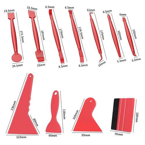 7/13pcs Car Vinyl Film Wrapping Tools Car Sticker Film Scraper Kit Auto Felt Squeegee Scraper Set Knife Decal Plaste Accessories