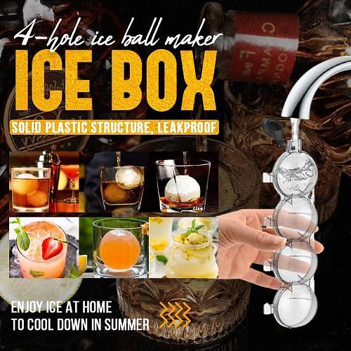 4-hole Ice Ball Maker 4-hole Ice Box Whiskey Maker Round Ice Hockey Mold Ice Tray Mold Ice Maker Ice Ball Maker Mold Tool Retail
