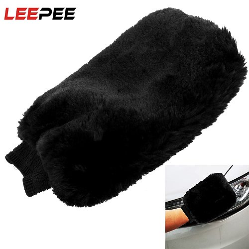 LEEPEE Car Cleaning Gloves Soft Artificial Wool Washing Gloves High Water Absorption Brush Cloth Car Wash Auto Care Detailing