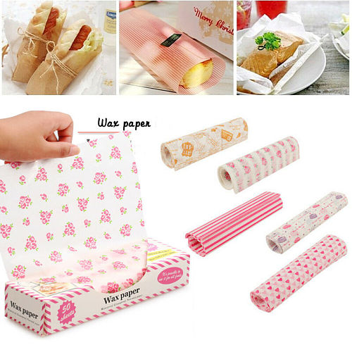 2020 Food Grade Fat Paper Wax Paper 50 X Wax Disposable Food Paper Sandwich Bread Burger Hamburger Packaging Restaurant Bar /BY