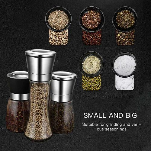 Transparent Stainless Steel Mill Pepper And Salt Grinder Manual Peper Spice Grain Mills Practical Kitchen Tools Baking Supplies