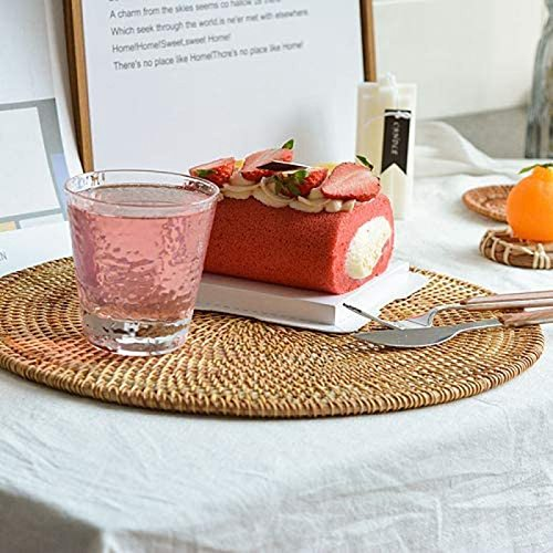Rattan Woven Placemats Round Table Mats Non Slip Heat Resistant Place Mat Wicker Placemat Trivets for Hot Dishes Round