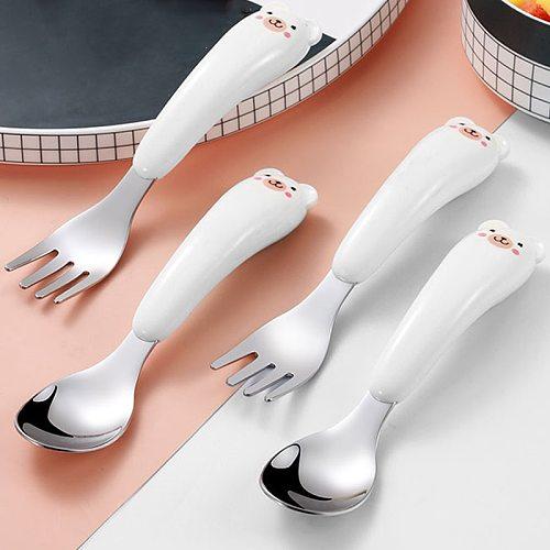 Cute Cartoon Stainless Steel Fork Spoon Set Non-slip ABS Handle Grasp Kids Training Spoon Utensil Baby Feeding Tableware Cutlery