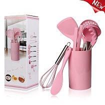 Pink Cooking Tools Stainless Steel Handle Kitchenware Dinnerware Tableware Heat Resistant Silicone Kitchen Utensils Accessories