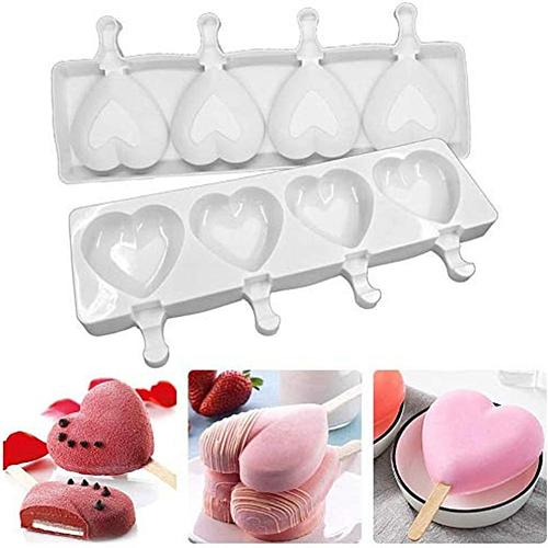 4 Hole Silicone Heart Shape Ice Cream Mold DIY Mold Dessert Ice Cream Mold with Popsicle Stick Household Ice Cream Shaper