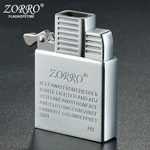 ZORRO Dual Fire Torch Insert Lighter Gas Jet Windproof Flint Gasoline Oil Lighter Inflatable Butane Kerosene Liner DIY Tool