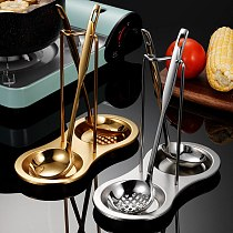 Stainless Steel Pan Pot Cover Lid Rack Stand Spoon Holder Stove Organizer Storage Soup Spoon Rests Kitchen Accessories
