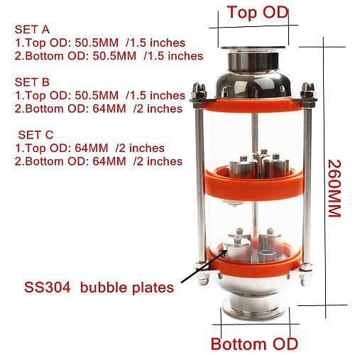 stainless steel 304 bubble plates Distillation Column with 2 section for distillation .Glass column