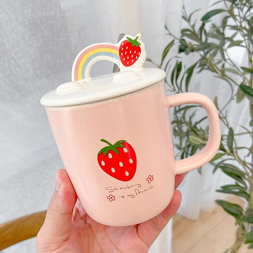 Lovely Strawberry Pink Ceramic Cup Girl Heart Mug with Mobile Phone Bracket Cover Scoop Creativity Coffee Cup Water