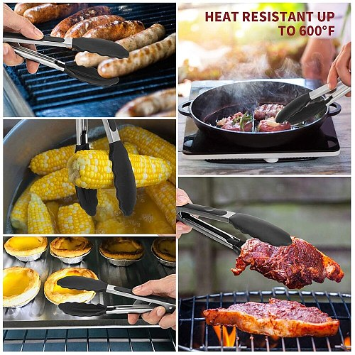 12/9inch Kitchen Silicone Food Tongs BBQ Grilling Salad Bread Serving Tong Non-Stick Kitchen Cooking Tong With Built-in Lock