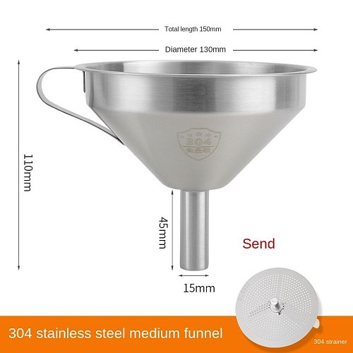 Funnel Household 304 Stainless Steel Large Diameter Kitchen Strainer Small Oil Bucket Large Hanging Wine Lifter Wine Scoop Thick