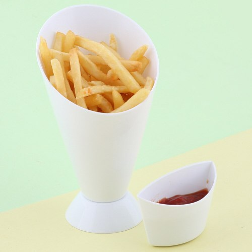 HOT French Fries Cup Container Dipping Cone Snack Holder Stand for Salad Sauce Kitchen TI99