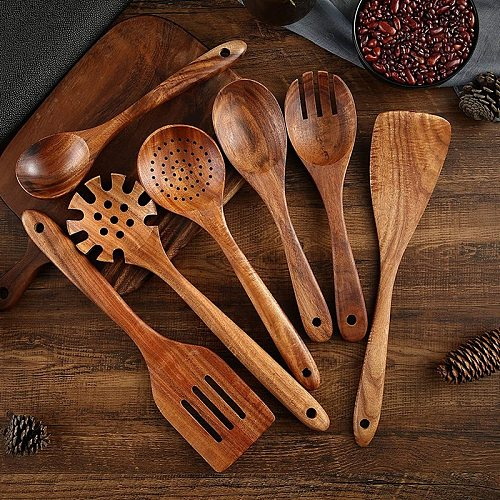 Wooden Kitchen Cooking Utensils, 8 PCS Wooden Spoons and Spatula for Cooking, Sleek, Cookware for Home Use and Kitchen
