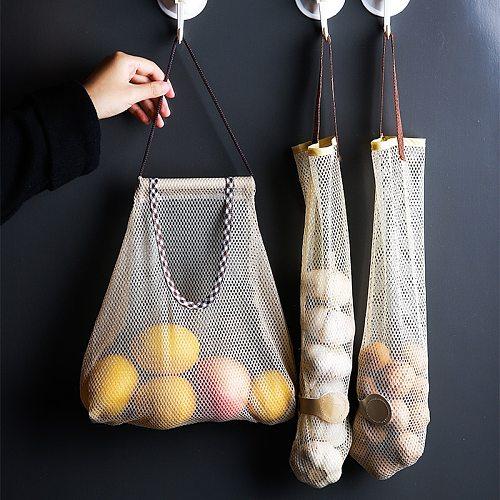 Hangable Vegetable Storage Net Bag  Eco Friendly  Onion Storage  Grocery Store Bag  Vegetable Bags Reusable Kitchen Accessories