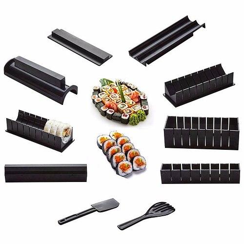 10Pcs/Set Sushi Maker Equipment Kit,Japanese Rice Ball Cake Roll Mold Sushi Multifunctional Mould Making Sushi Tools