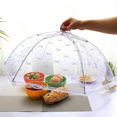 Umbrella Style Lace Food Cover Portable Anti Mosquito Meal Cover Foldable Table Home Food Cover Kitchen Gadgets Cooking Tools