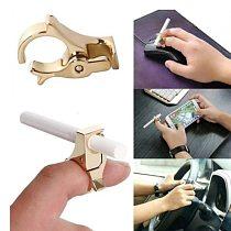Cigarette Holder Ring Rack Metal Smoking Lighter Rolling Tray Finger Ring Clip Cigarette Holder For Men Gift Smoking Accessories
