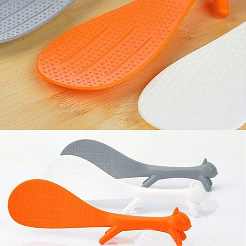Creative Lovely Kitchen Supplie Squirrel Shaped Ladle Non Stick Rice Paddle Spoon Plastic Spoon Kitchen Accessories#p3