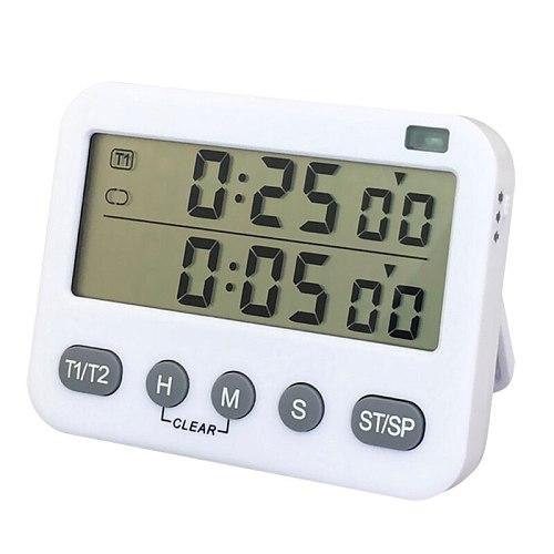 Magnetic Countdown Timer Dual Digital Timer, Digital Timer for Cooking w/ Seconds, w/ 3-Level Adjustable