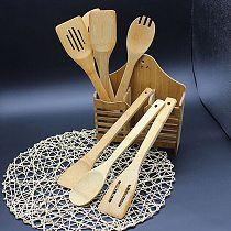 5 Piece Set Bamboo Utensil Kitchen Wooden Tools Spoon Spatula Mixing Healthy High Quality Easy Kitchen Cooking Tools #38