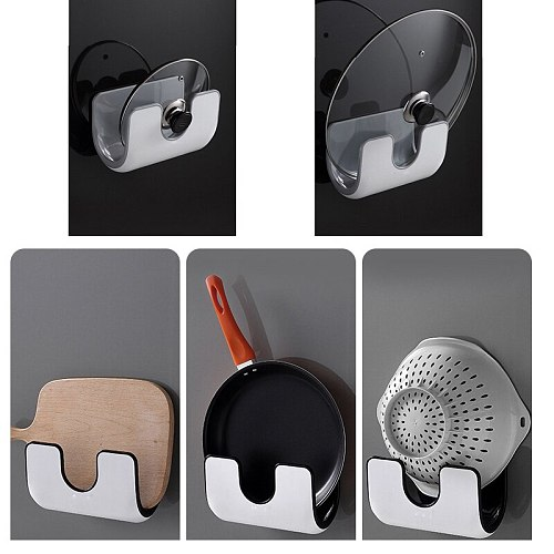 Wall Mounted Pan Pot Pan Cover Lid Rack Holder Stand Cutting Board Holder Kitchen Organizer With Hanger Hooks