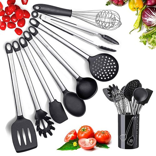 Meijuner 9Pcs Kitchen Silicone Tools Cook Tools Kitchen Gadgets Cooking Tool Egg Beater Spoon Spatula Brush Kitchenware  MJ272